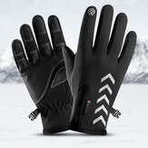 Cycling Warm Gloves Season Outdoor Waterproof Sports Anti-skid Five-finger Touch Screen Night Riding Highlight Reflective Gloves