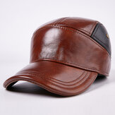 Men's Hat Cap Warm Ear Protection Genuine Leather Leather Hat Cotton Hat Thickening Baseball Cap