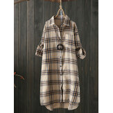 Women Long Sleeve Plaid Casual Asymmetrical Long Blouse