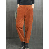 Solid Color Casual Corduroy Pants