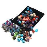105 pezzi Set di dadi Dadi poliedrici 7 giochi di ruolo da tavolo a colori con giochi in stoffa Dadi multi-sied