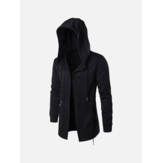 Mens Black Fashion Casual Mid Long Cape Cloak Hooded Jacket