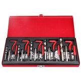 131PCS Strumento di riparazione maschiatura filettatura M5X0.8X6.7mm, M6X1.0X10.8mm, M8X1.25X10.8mm, M10X1.5X13.5mm, M12X1.75X16.3mm Set di trapani a mano Strumenti