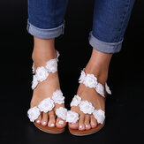 Women Plus Size Flower Decoration Slip On Summer Sandals