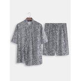 2PCS Hombres Kimono Yukata Pijamas Albornoz de estilo japonés Ropa de dormir con estampado floral