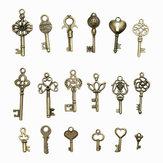 18 Stück Antik Bronze Schlüssel Retro Anhänger Satz Halskette Armband Fußkettchen Dekorationen