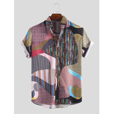 Hombres Colorful Irregular Patrón Mix Stripe manga corta Camisa
