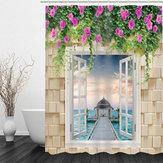 180 × 180cm3D Su Geçirmez Banyo Banyo Duş Perdesi Baskı Polyester 12 Çengel ile