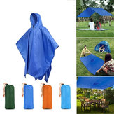 3 in 1 Multifunction Travel Poncho Raincoat Shelter Hiking Camping Mat Backpack Cover