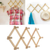 Wooden Hanger Rack Clothes Coat Wall Mounted Hanging Hat Towel Hook Retractable