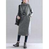 Einfarbiger Rollkragenpullover Loose Causal Sweatshirt Kleid