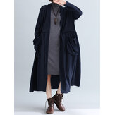 Women Pure Color Cotton Loose Long Sleeve Pockets Trench