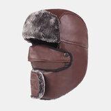 Erkek Deri Sıcak Ve Rüzgar Geçirmez Outdoor Şapka Kalınlaştırıcı Sürme Kulaklıklar Trapper Şapka Kar Kapağı