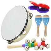 6 Peça Conjunto Orff Instrumentos Musicais Mão Shake Chocalho Castanholas Hammer Sino Vertical Ferramentas Educacionais Ritmo Kit para Crianças Crianças
