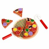 Wooden Pizza Play Food Set Wooden Toys Kids Pretend Kitchen Children Cooking