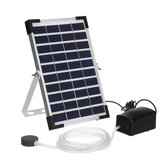 10V 5W Solar Panel Fish Tank Oxygenator Aquarium Oxygen Aerator Pond Fishing Air Pump W/ Pipe & Bubble Stone