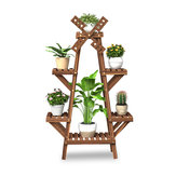 Wooden Plant Stand Windmill-shape Flower Pots Organizer Shelf Display Rack Holder Bookshelf for Indoor Outdoor Patio Garden Corner Balcony Living Room