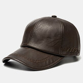 Collrown Men PU Leather vendimia Personalidad Gorra de béisbol con tejido Sombrero