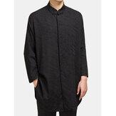 Jacquard de lino y algodón de estilo chino Camisa