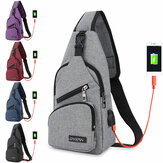 Fashion Canvas Bolsa Sport Chest Pack USB Carga Crossbody Shoulder Bolsa