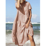 Wanita Summer Beach Cotton Casual Dress Longgar dengan Kantong