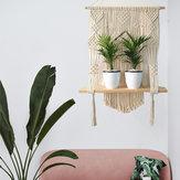 Geweven Macrame Plant Hanger muur opknoping Bohoes Wall Art met kwasten Home DIY opknoping Craft Decorations