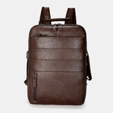 Men Faux Leather Large Capacity Backpack Handbag