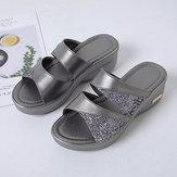 Mulheres lantejoulas splicing confortável sandálias de cunha de verão