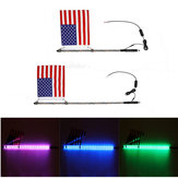 4/5ft Lighted LED Car Whip Lights 5050RGB Flagpole Lamp w/Flag + Remote For Jeep ATV UTV