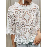 Women Casual Lace Hollow Curved Hem Short Sleeve Blouse