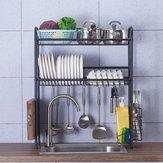 Double Layer Shelf Dish Edelstahlhalter Spüle Abfluss Rack Küche Besteck Trocknen Abtropffläche Küche Lagerregal
