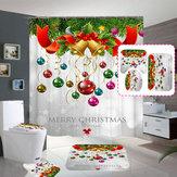 Merry Christmas Çan Su Geçirmez Banyo Duş Perdesi Banyo Paspasları Tuvalet Kapağı