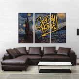 Miico Handgeschilderde decoratieve schilderijen met drie combinaties Sterrenhemel Sky Kunst aan de muur voor huisdecoratie