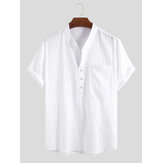 Hombres 100% algodón Stand Collar Fresh Casual Plain Loose Short Sleeve Henley Shirts
