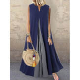 Sleeveless V Neck Multi-color Side Pocket Stitching Maxi Dress