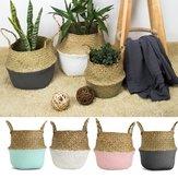 Panier de paille en rotin pliable Pot de fleur Suspendu Paniers de rangement en osier Accessoires de jardin