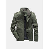 Mens Military Epaulet Solid Color Cotton Cargo Work Jacket