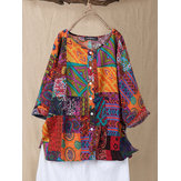 Ethnic Print Patchwork Shirt