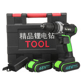 48V 3 In 1 Cordless Power Drills 15+1 Torque Drilling Tool Dual Speed Electric Screwdriver Drill W/ 1 or 2 Li-ion Battery