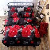 4 PCS 3D Rose Printed Duvet Quilt Cover Pillowcase Bed Sheet Bedding Sets For Queen Size