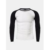 Mens Casual Slim Shirt Rundhals Raglan Baseball Langarm T-Shirt Sport Tops