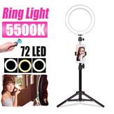 5500K 72 LED Ring Light Round Selfie Camera Video Makeup Mirror Light Lamp Light W/Holder