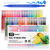 48/100 kleuren Tweekoppige markeerstift Art Brush Aquarel Dual Tip pennen
