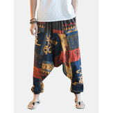 Men's Casual Ethnic Style Printed Cotton Haren Pants Summer Breathable Large Size Cropped Trousers