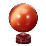 Cat Eye Crystals Ball Sphere 50-60mm Asian Quartz Rock Healing Home Decor + Stand
