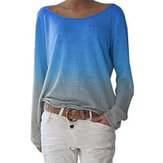 Gradient Color Sweatshirt O Neck Long Sleeve Casual Blouse