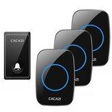 CACAZI FA60 sonnette sans fil auto-alimentée étanche maison intelligente anneau de porte cloche 3 pièces récepteurs émetteur