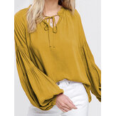 Elegant Long Lantern Sleeve V Neck Tie Blouse