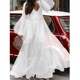 Casual Loose Lace Mesh Puff Sleeve Plissado Ruffle Maxi Dress