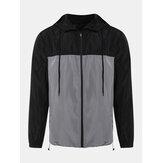 Mens Fashion Color Block Zipper Long Sleeve Hooded Jacket